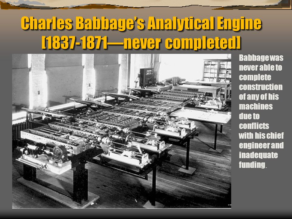 Charles Babbage's Analytical Engine [1837-1871—never completed]